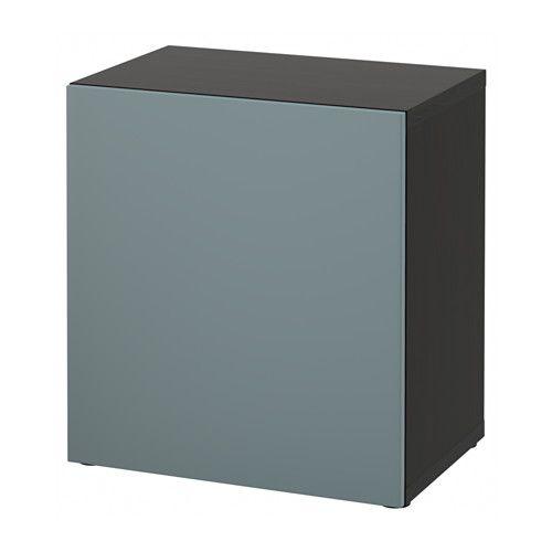 BESTÅ Shelf Unit With Door, Black-brown, Laxviken Black