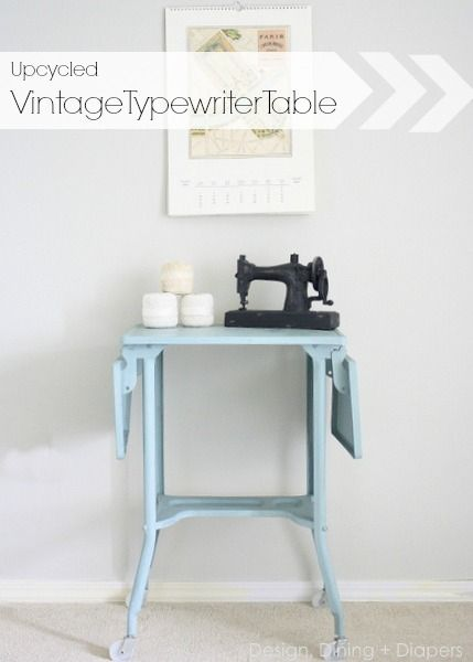 Upcycled Vintage Typewriter Table + Name Of This Pretty Blue Paint.  Designdininganddiapers.com