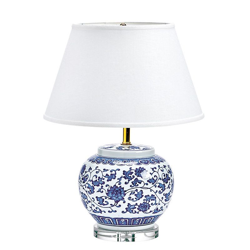 blue white single round chinoiserie table lamp in 2019 products rh pinterest com