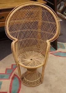 Vintage Childrens High Fan Back Peacock Wicker Chair Rattan Folk .