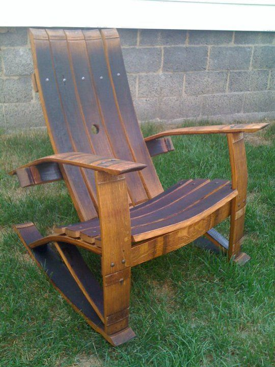 wine barrel stave rocking chair for the home whiskey. Black Bedroom Furniture Sets. Home Design Ideas