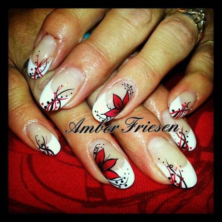 #nails #nailart #french #flower #red