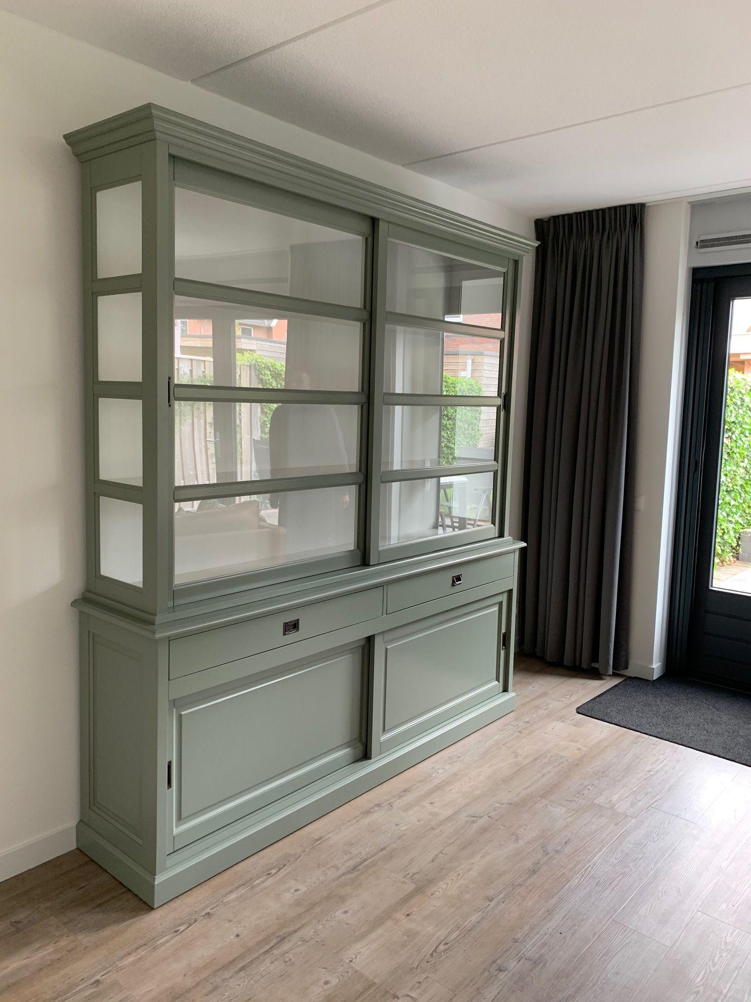 Hoge Buffetkast Engels Groen 220 X 240cm Buffetkast Huis Interieur Thuisdecoratie