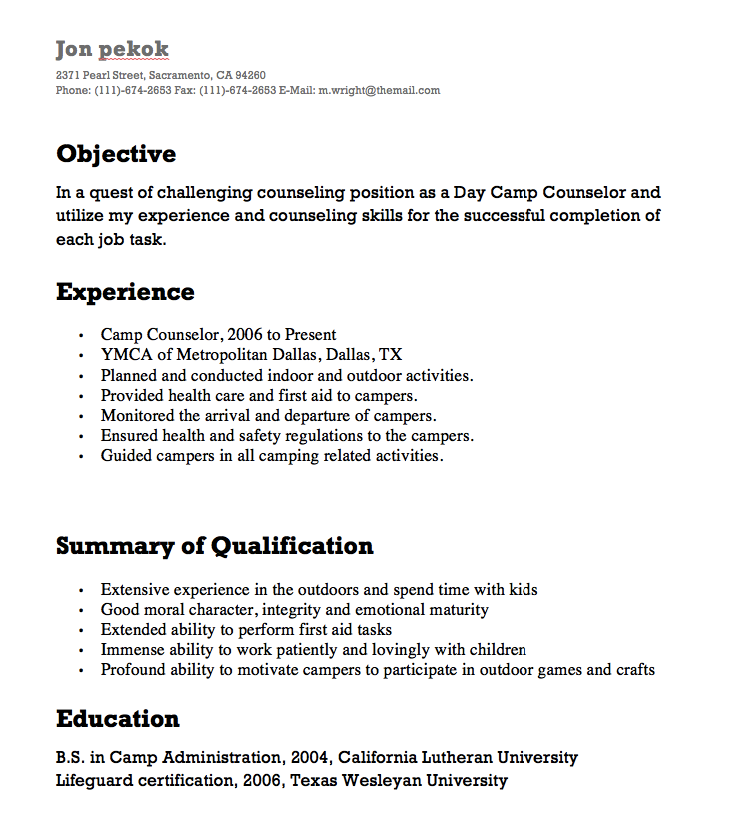 Superb Camp Counselor Resume Sample   Kleo.beachfix.co
