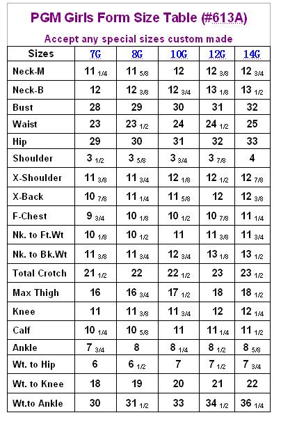 Pgm Girls Dress Form Measurement Chart  Sewing