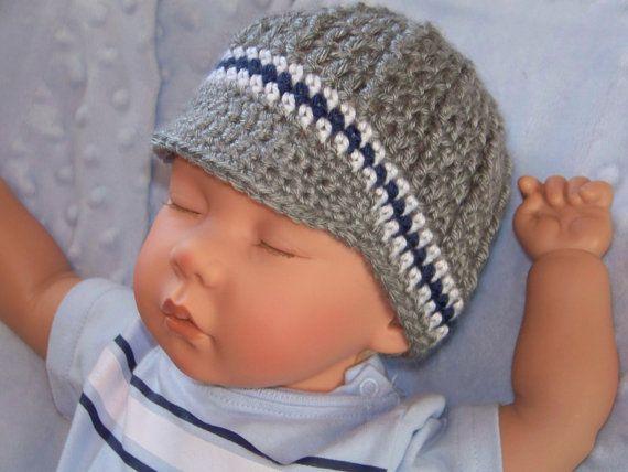 Crochet Baby Boy Hat Newborn Hat Infant Hat by crochethatsbyjoyce, $16.00
