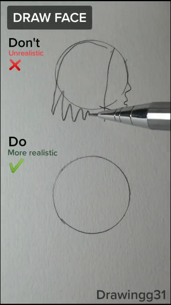 Draw a face turned sideways