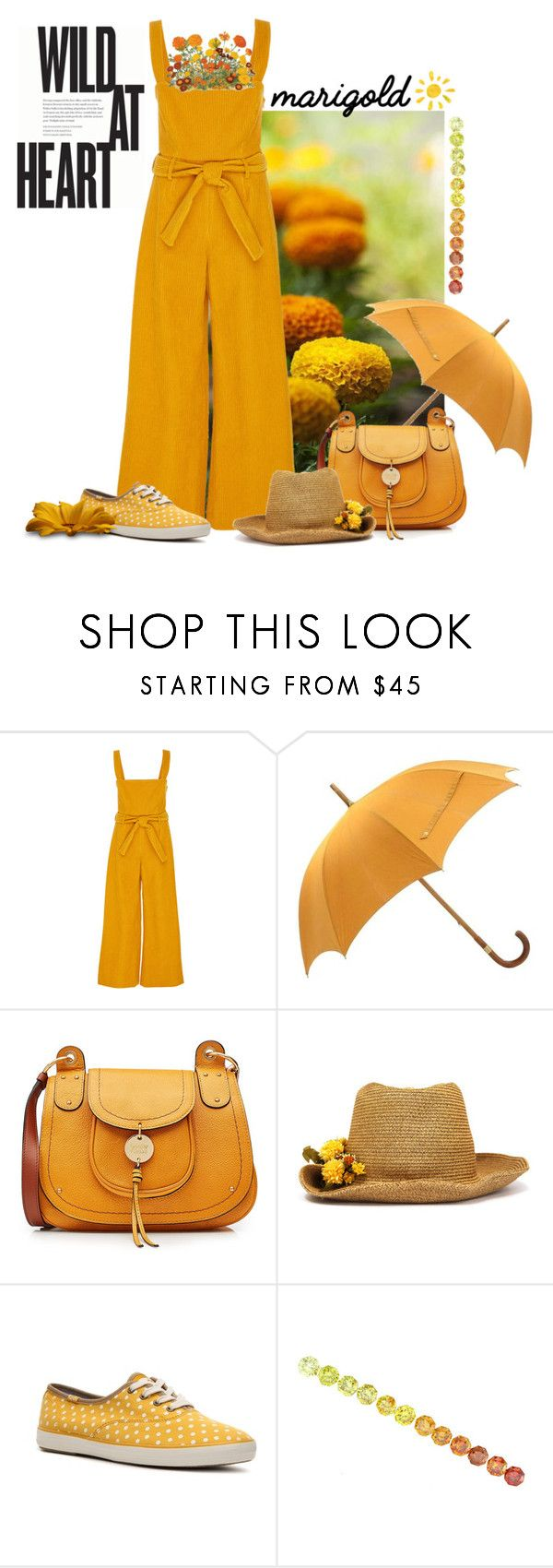 """Marigolden"" by justange ❤ liked on Polyvore featuring Mara Hoffman, Hermès, See by Chloé, CA4LA and Keds"