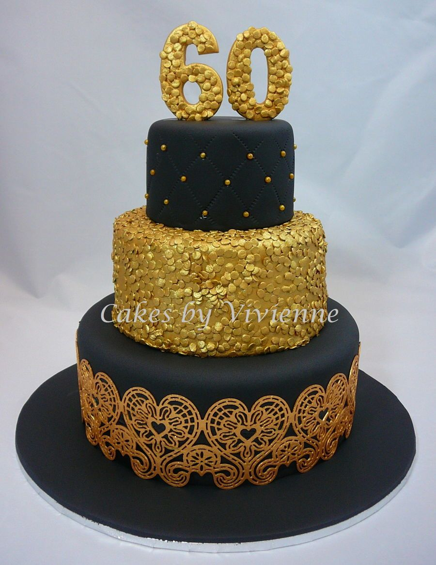 Black gold 60th birthday cake on cake central spooky for 60th birthday cake decoration