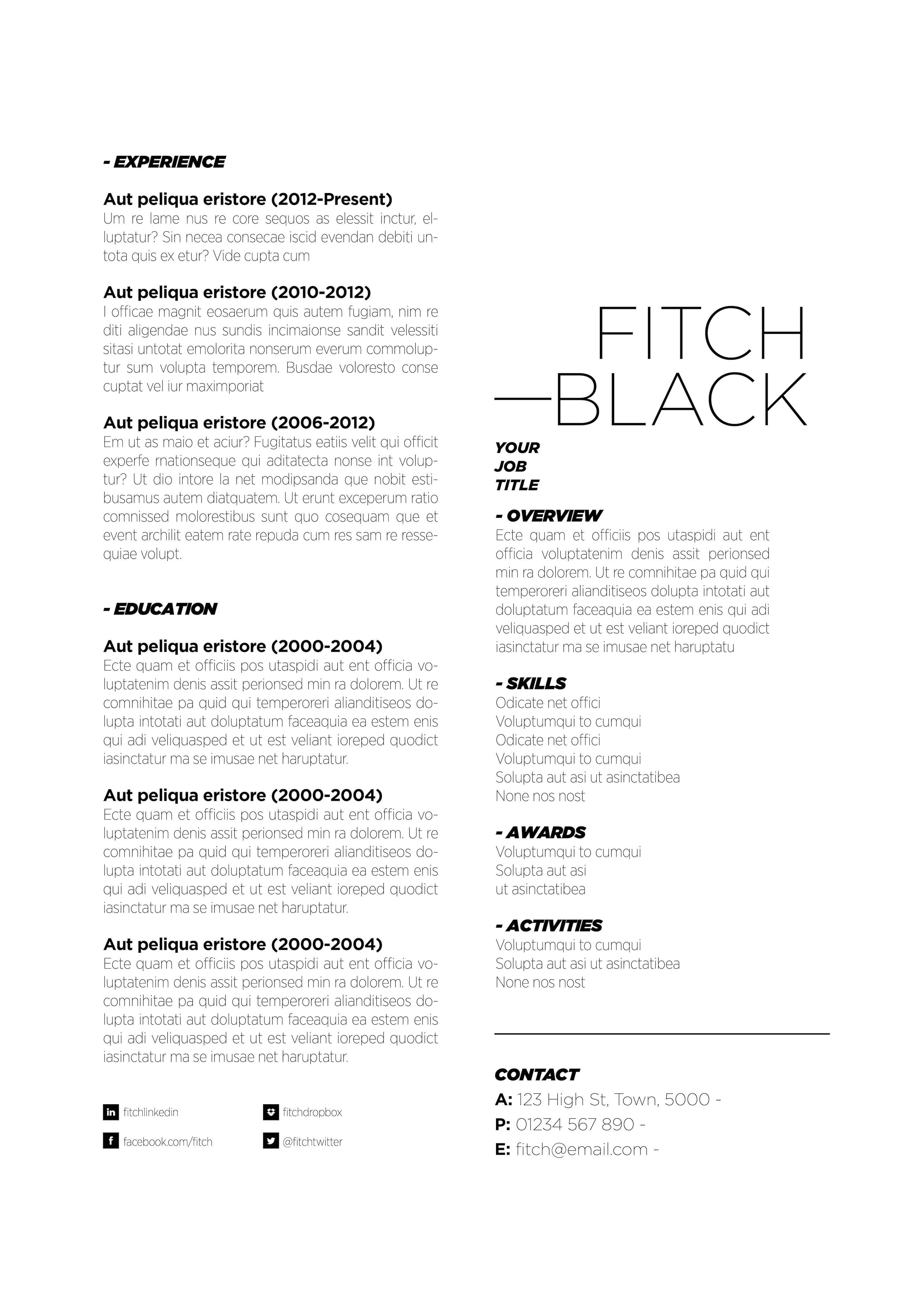 Fitch in black. Available in three colours at www