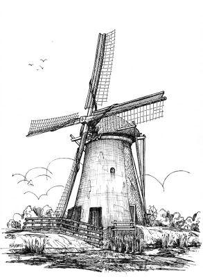 Windmills Com Imagens Moinho De Vento Esbocos De Animais Moinho