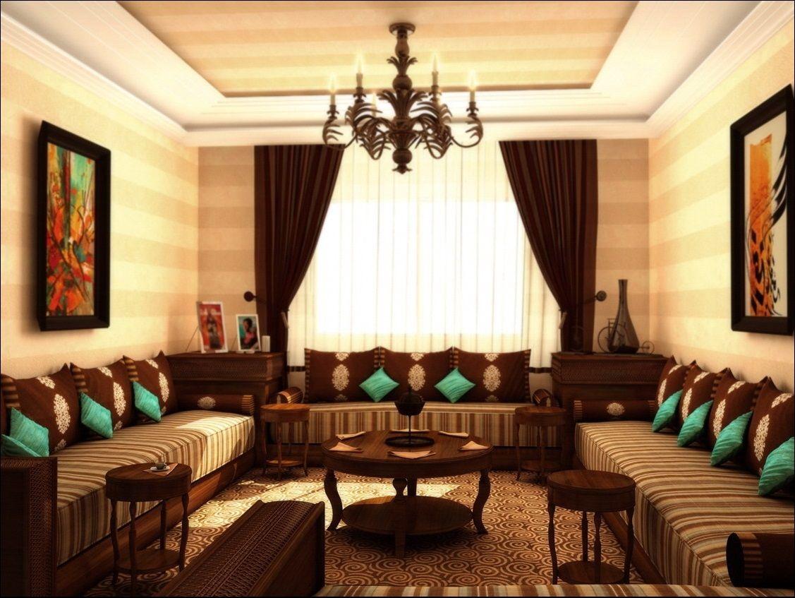 Salon Marocain Traditionnel (Marron et touche de Turquoise) de ...