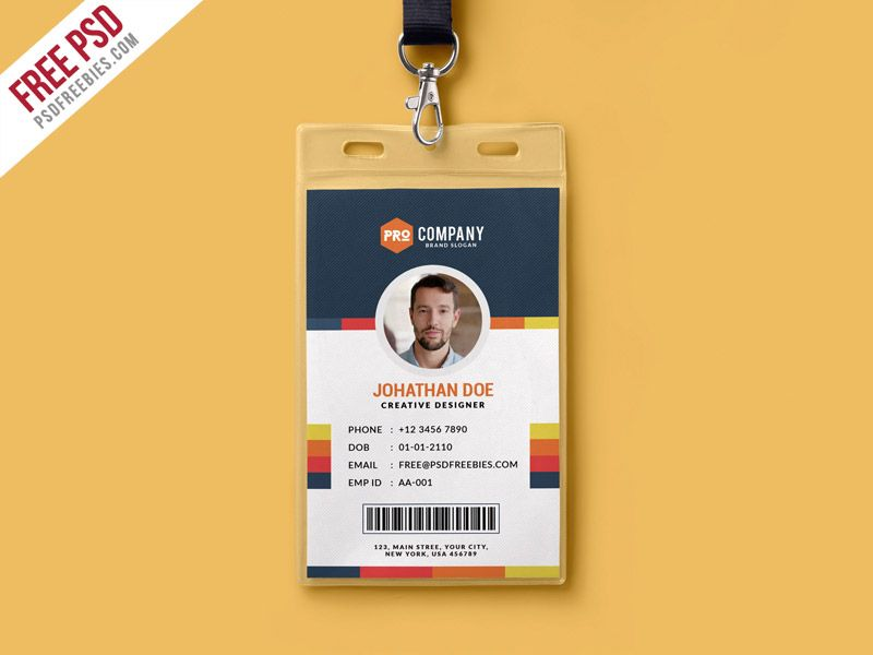 Creative Office Identity Card Template Psd  Simple Shapes Card