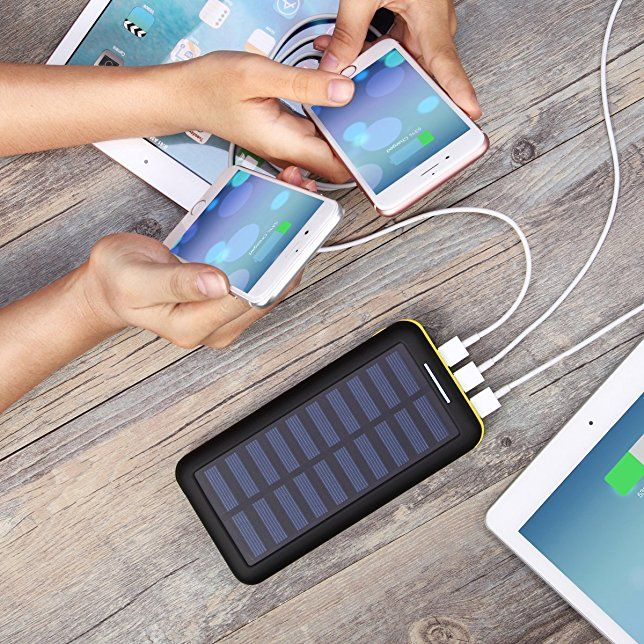 Amazon Com Solar Charger 24000mah Power Bank Plochy Portable Charger Solar Phone Charger With Lightn Solar Charger Solar Phone Chargers Solar Charger Portable