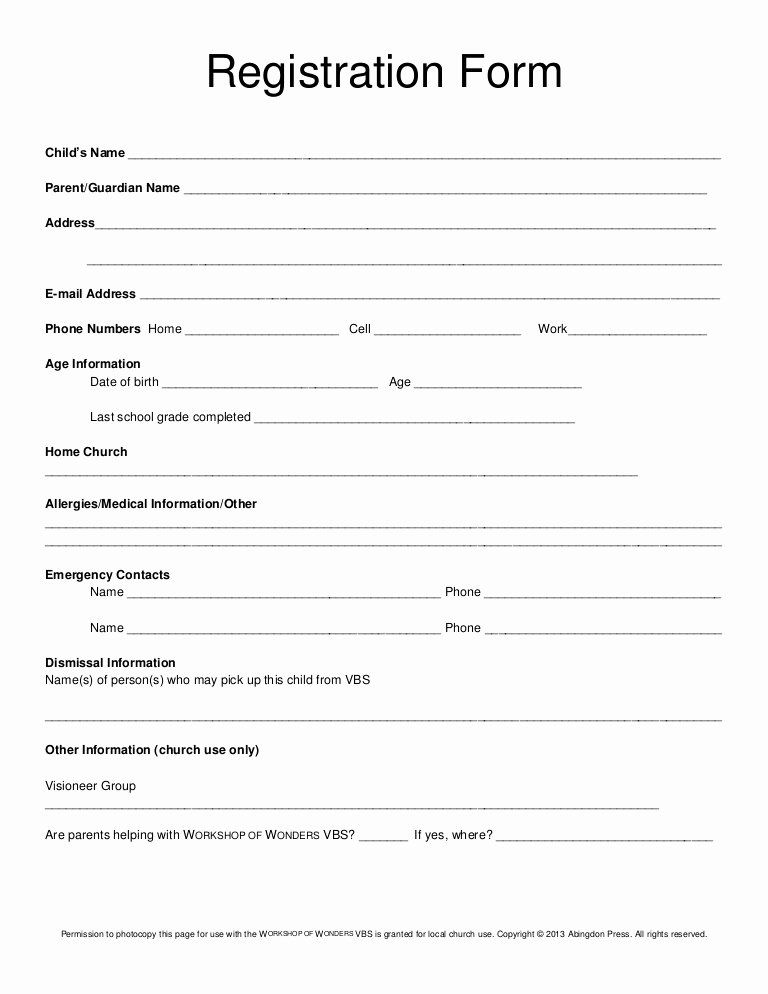 Family Reunion Registration Form Doc Awesome Registration Form Vbs Registration Form Family Reunion Registration Registration