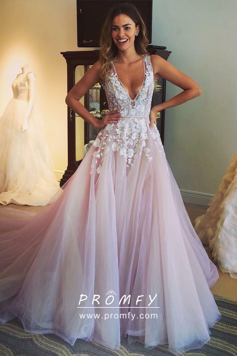 white tulle prom dress with pink flowers