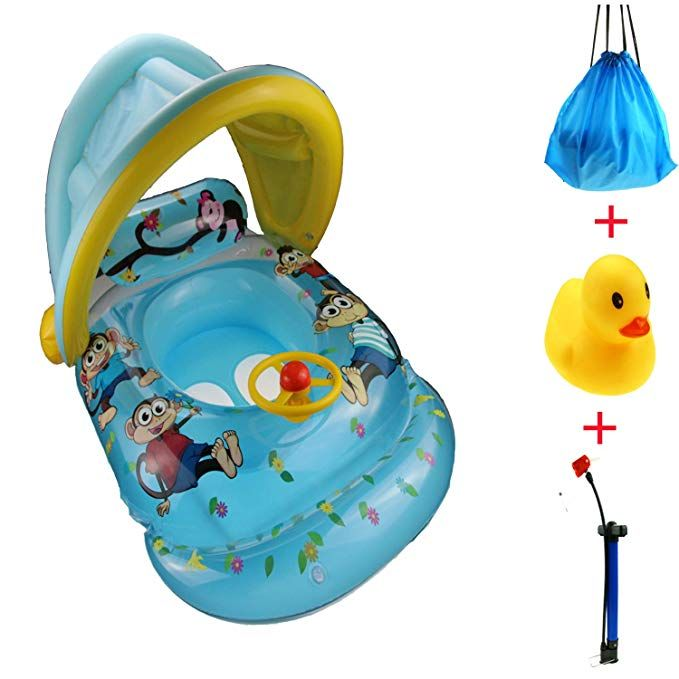 XM Baby Inflatable Boat Swimming RingsBaby Pool Floating Toy with Adjustable Canopy with Bicycle Pumpu0026Bath Toyu0026Carry Backpack(6-36Months Babyï¼u2030 (with ...  sc 1 st  Pinterest & XM Baby Inflatable Boat Swimming RingsBaby Pool Floating Toy with ...