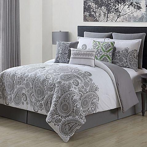 Mona 9 Piece Comforter Set In Grey Comforter Sets Grey And Teal Bedding Grey And White Comforter