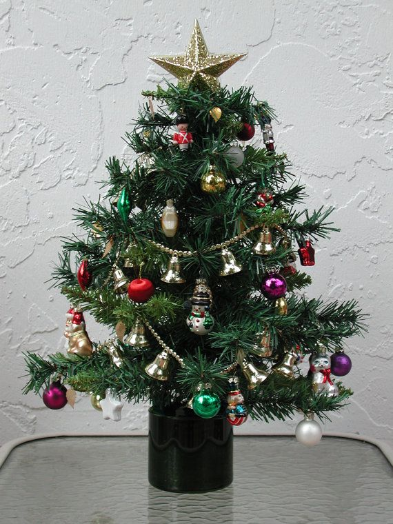 miniature table top christmas tree fully decorated with 25 clear lights - Small Fully Decorated Christmas Trees