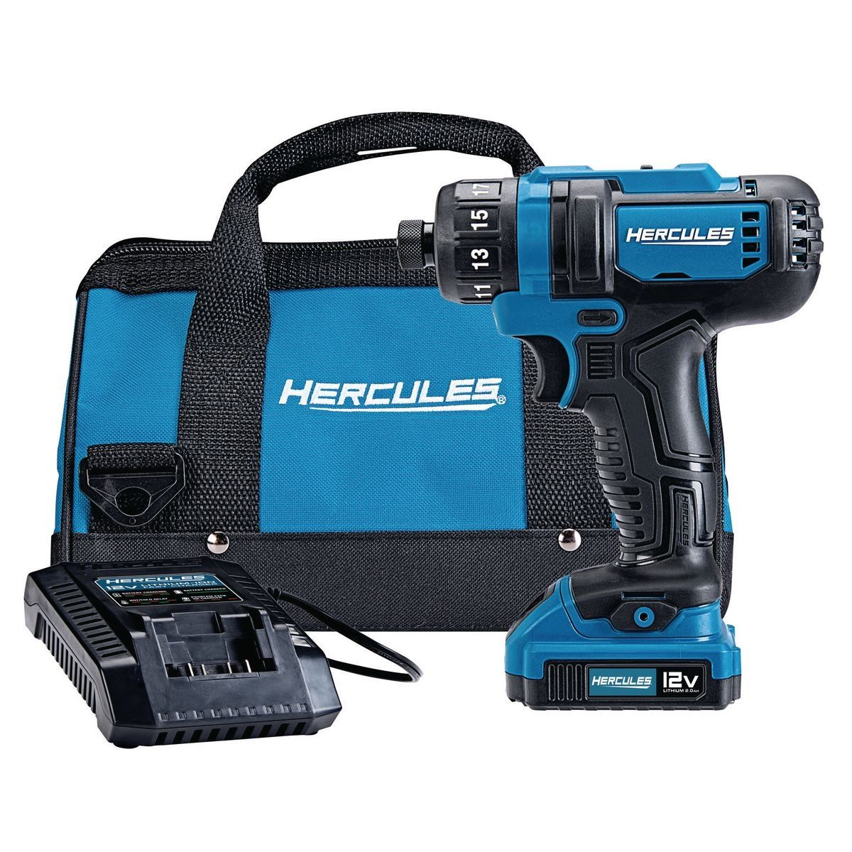 The 12V Hercules® Cordless Screwdriver Kit features a ¼