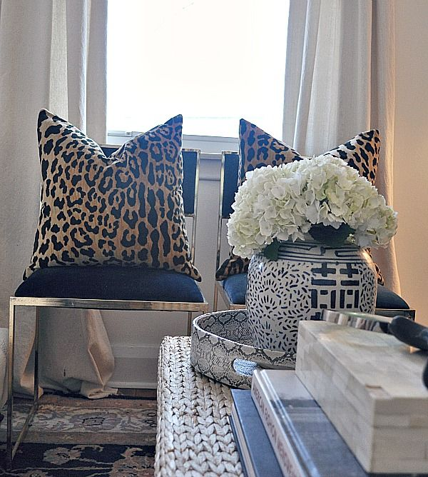 Raiana Schwenker Design Animal Print Fabric Cushions Add A Touch Of Primal Luxury To A Room Luxe Living Room Navy Living Rooms Leopard Print Pillows