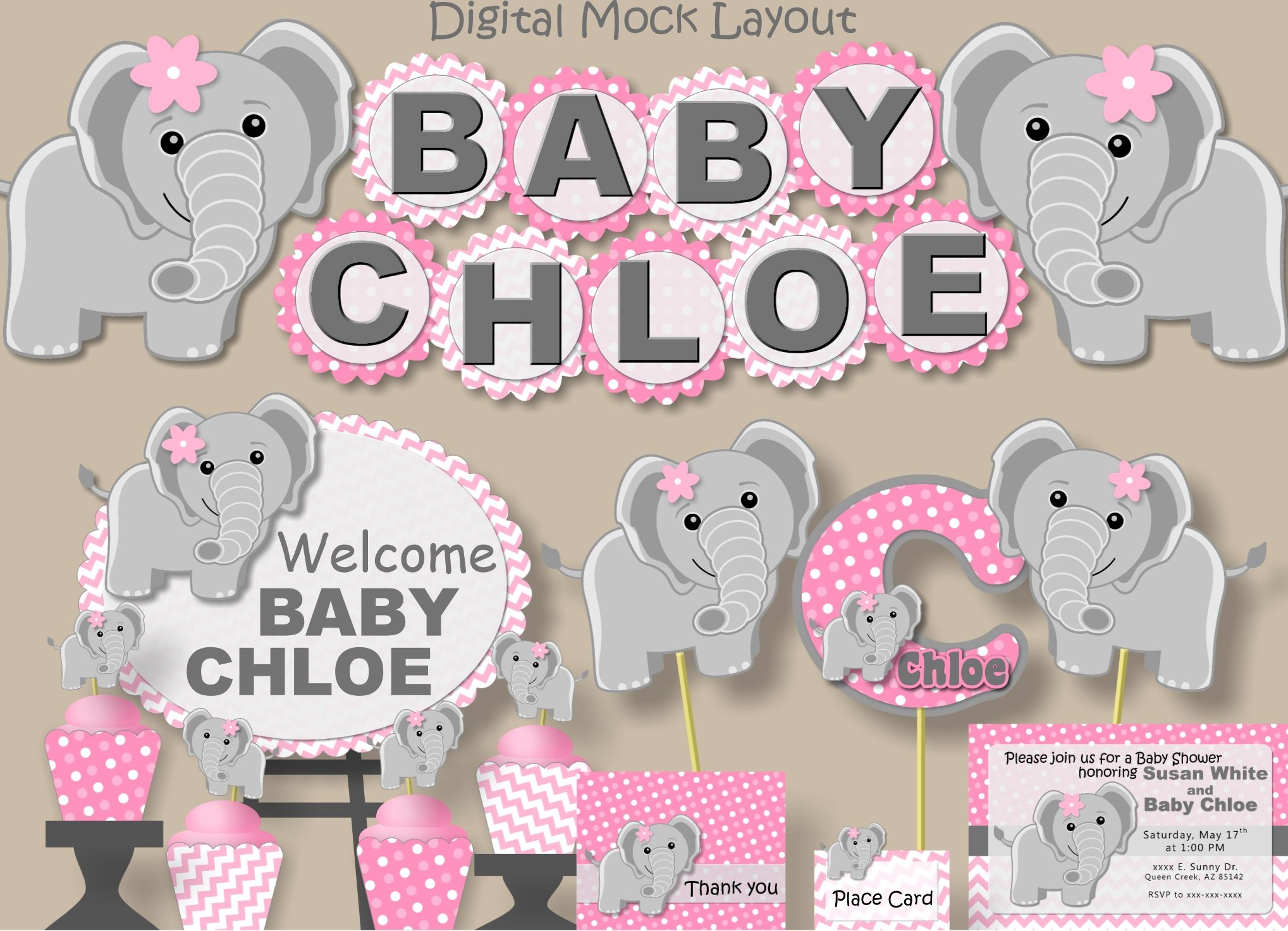 Pink Elephant Baby Shower Decorations For Girl Or 1st First Birthday Party,  Invitation, Banner, Favor Tag, Cupcake Topper, Invite, Printed