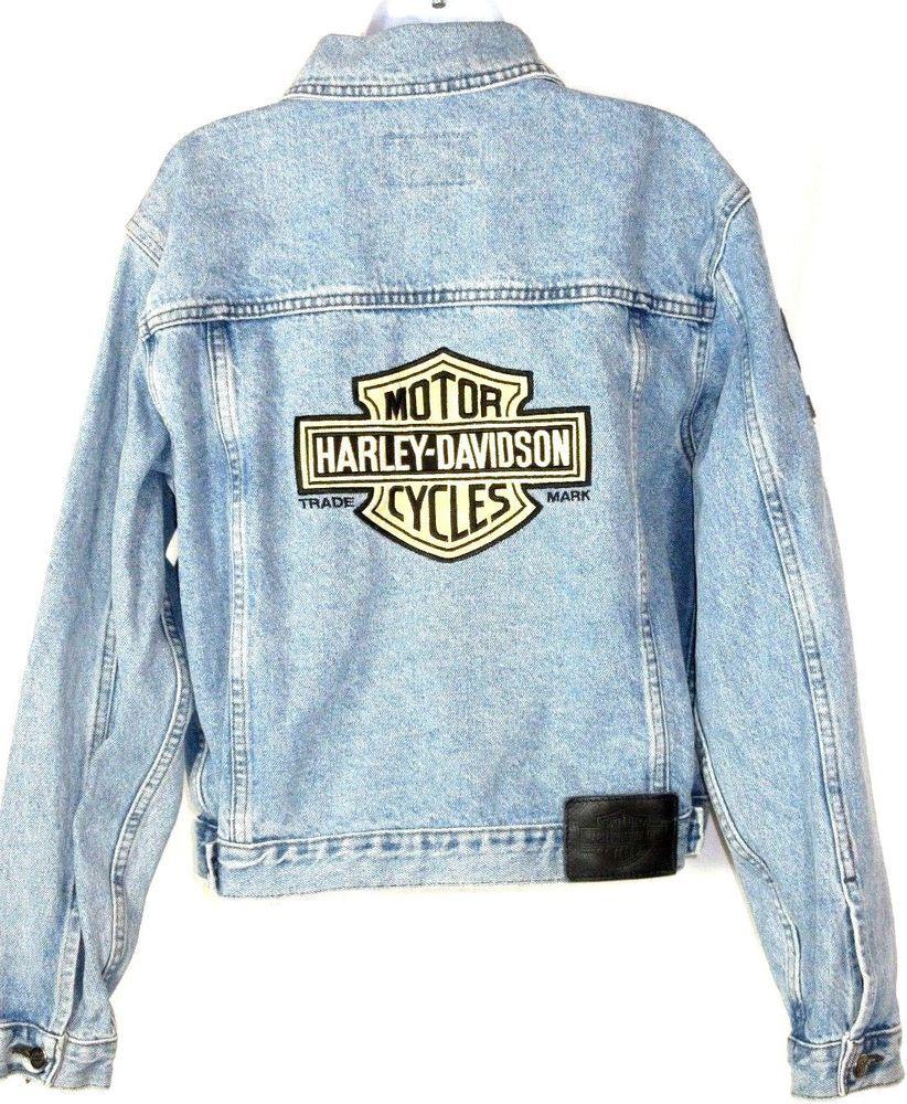 Vtg Womens Harley Davidson Motorcycle Denim Jean Jacket Big Logo Shield On Back Harleydavidson Jeanjacket Jean Jacket Women Denim Jean Jacket Harley Davidson [ 1000 x 822 Pixel ]