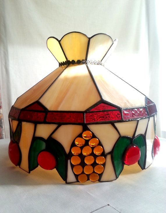 Vintage tiffany style arts crafts stained slag glass large hanging vintage tiffany style arts crafts stained slag glass large hanging lamp shade fruits pattern 3d mozeypictures Image collections