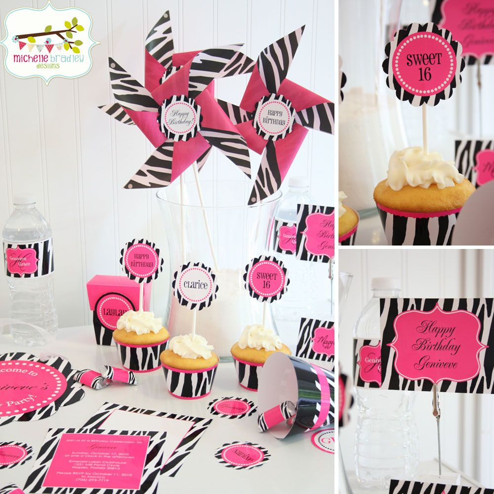Image Detail for - Home » Party Kits- Girls » Zebra w/ Hot Pink ...