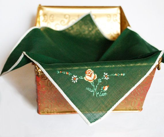 Green Vintage Hankie Floral Design Embroidery by FondestMemories, $8.00