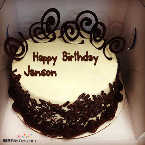 Incredible The Name Janson Is Generated On Birthday Cake For Friends With Funny Birthday Cards Online Chimdamsfinfo