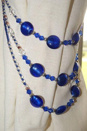 A Pair Of Cobalt Blue Beaded Curtain Tiebacks By Monicashobbyshop