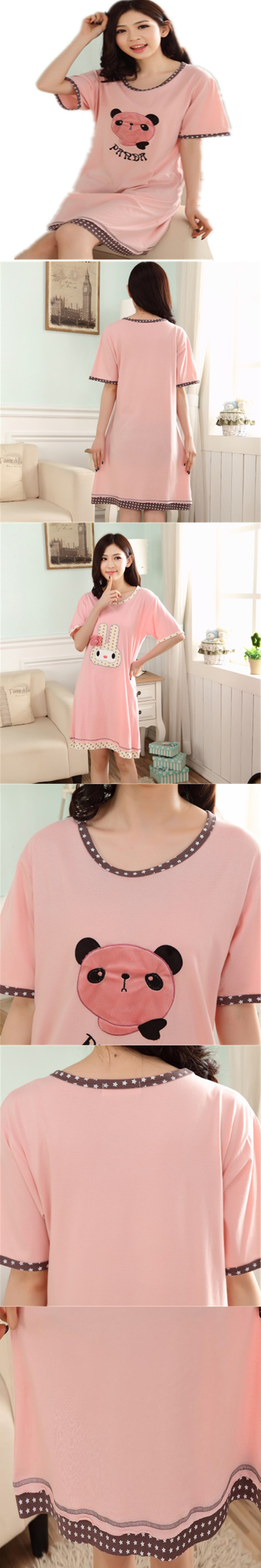 2016 Summer Cotton Sleepwear Nightdress Dress Women Short Sleeve Plus Size Cute Cartoon Summer Homewear Nightgowns LJ3838
