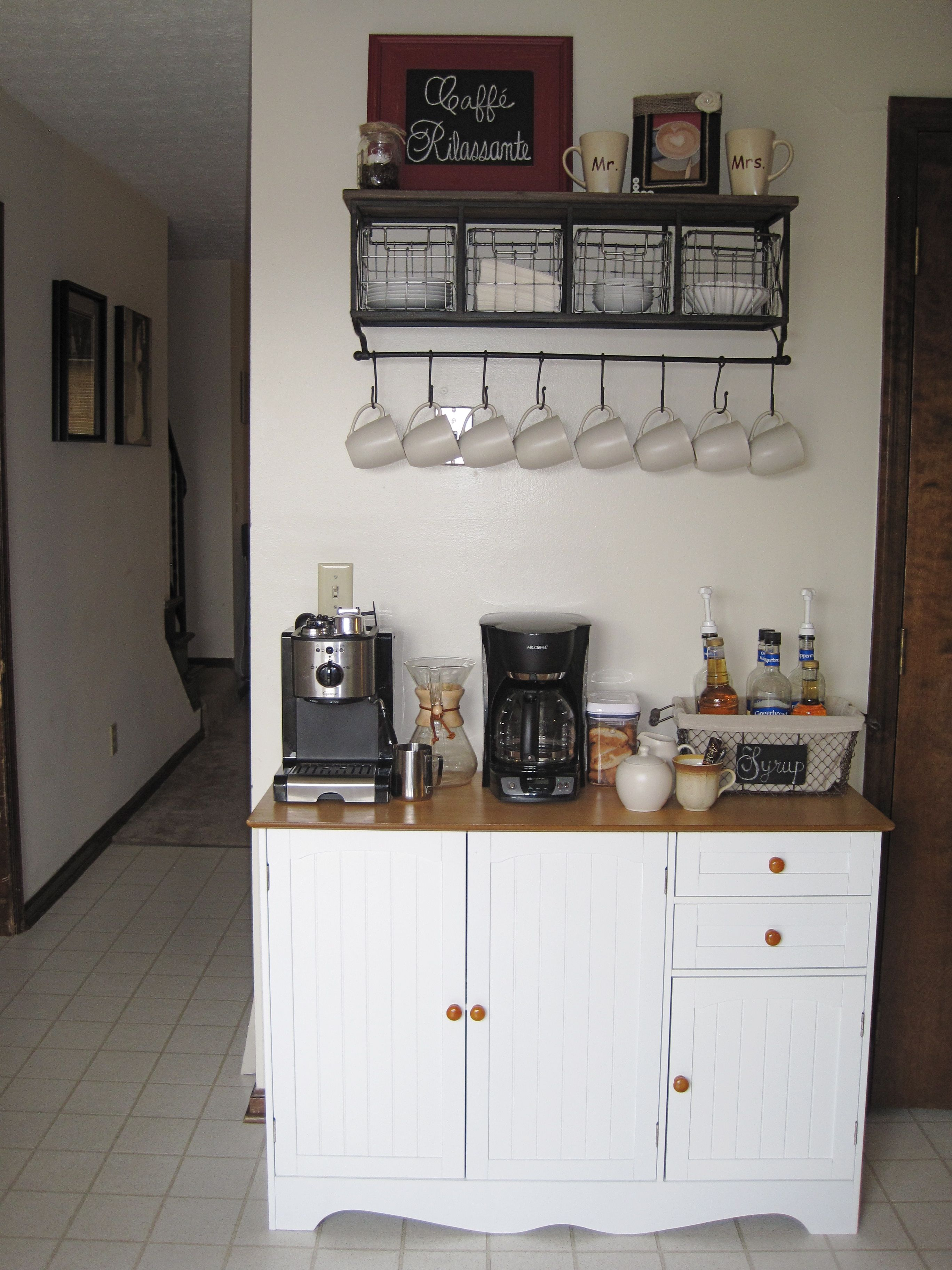 Our Coffee Bar In Our Kitchen Coffee Bar Table Amazon