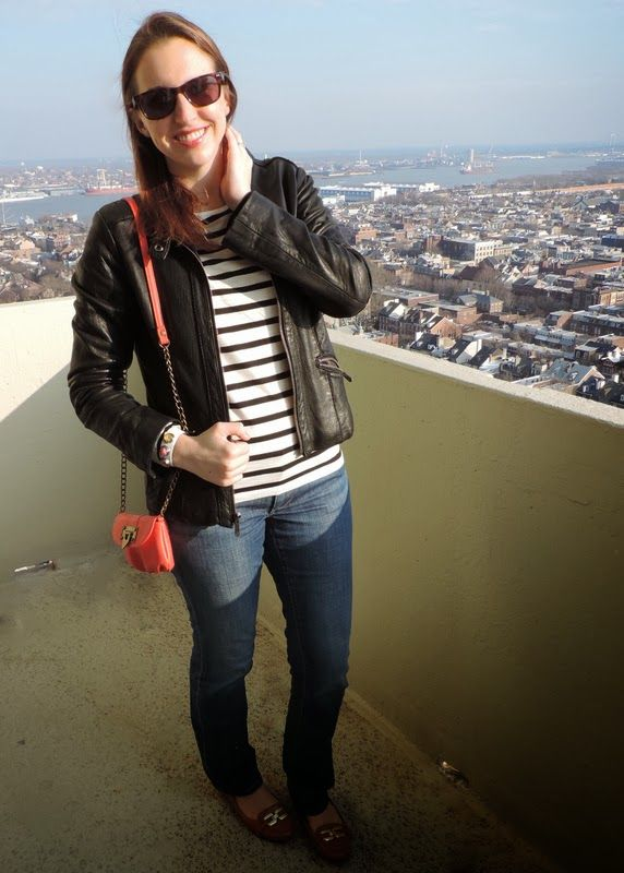 See What Katie Wears: leather jacket, stripes, jeans, mini bag