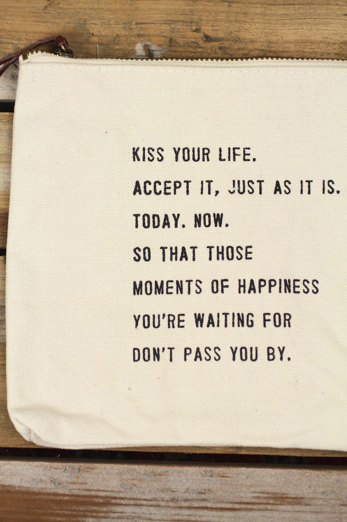 Life Canvas Quote Sugarboo Designs 'kiss Your Life' Canvas Pouch  Favooz