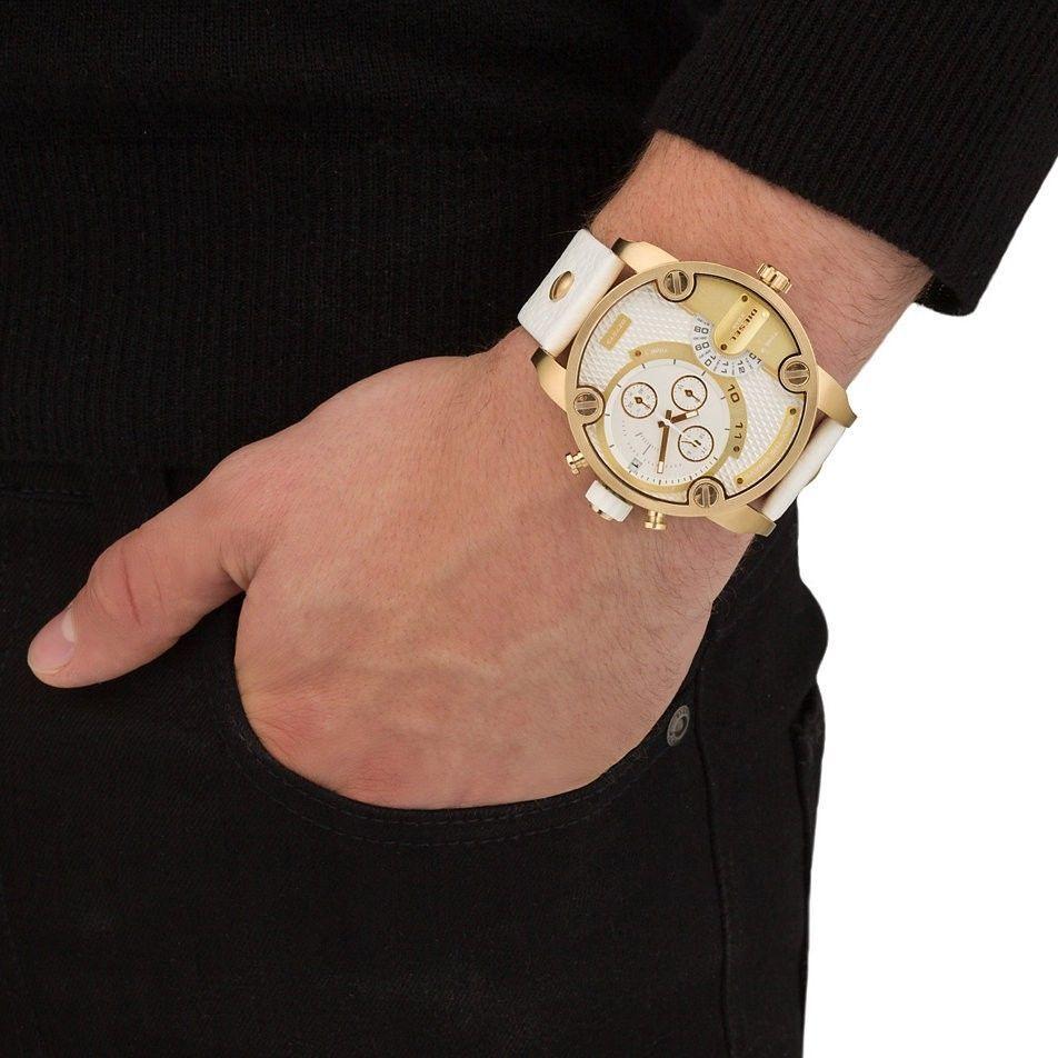 diesel dz7273 little daddy white gold dial men s watch dz7273 diesel dz7273 herren kleine papa gold chronograph
