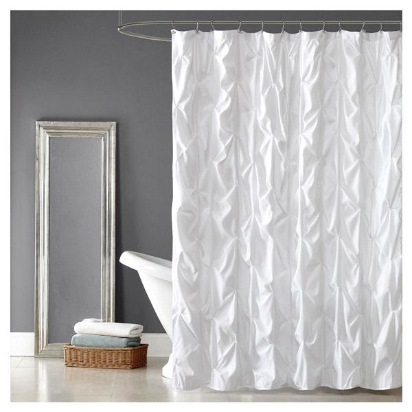 Room Retreat Pintuck Shower Curtain White Fabric Shower