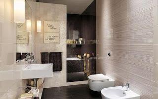 Lindos Banos En Beige Y Marron Bathroom Feature Wall Italian