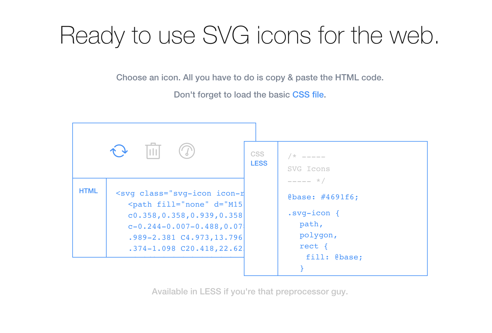Ready to use SVG icons for the web Html code, Coding