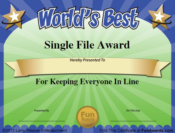 Free funny award certificates templates sample for Funny certificates for employees templates