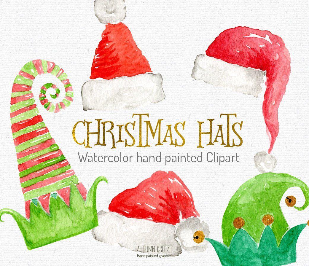 Christmas hat clipart, watercolor Santa hat, Holiday
