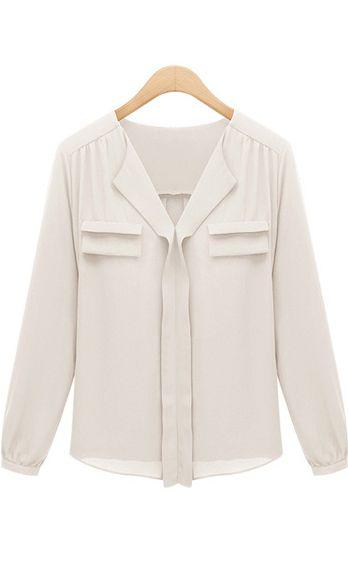 V-neck long sleeve OL blouse A316 Beige