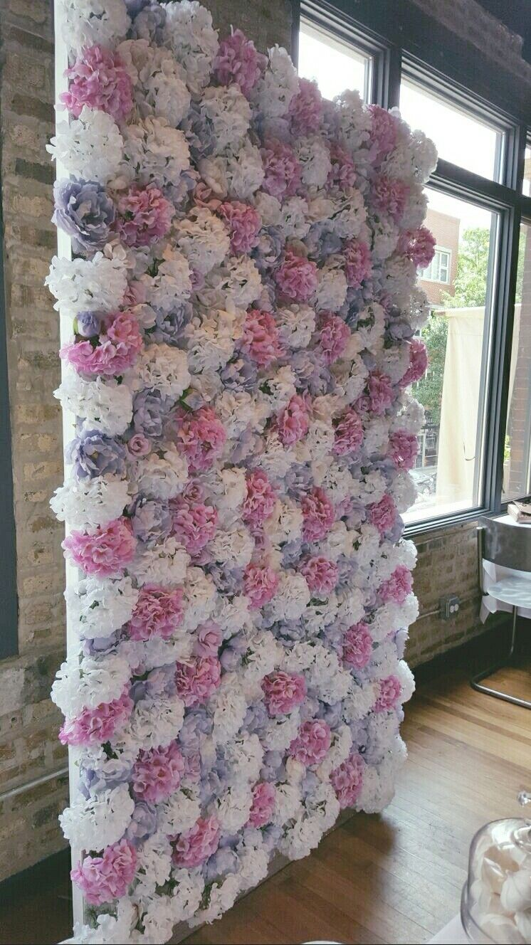 Floral Wall For A Baby Shower Silk Flowers On Insulation