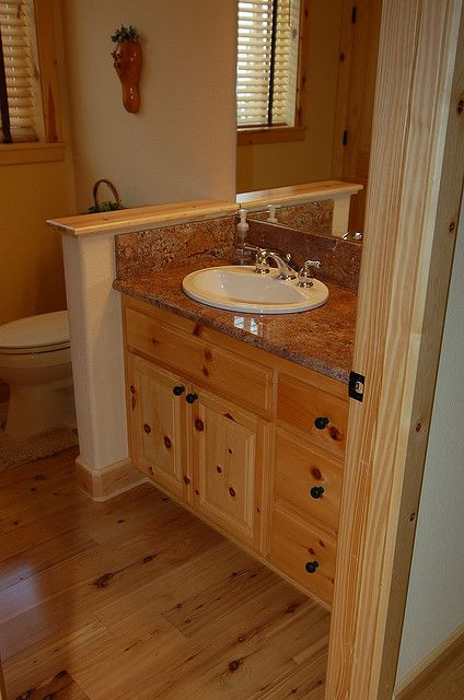 Knotty Pine Vanity Cabin Bathrooms Bathroom Pine Cabinets
