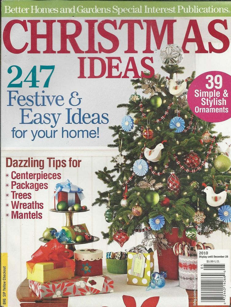 Christmas Ideas Magazine Ornaments Centerpieces Packages Trees Wreaths Mantels Cross Stitch Magazines Handmade Crafts Better Homes And Gardens