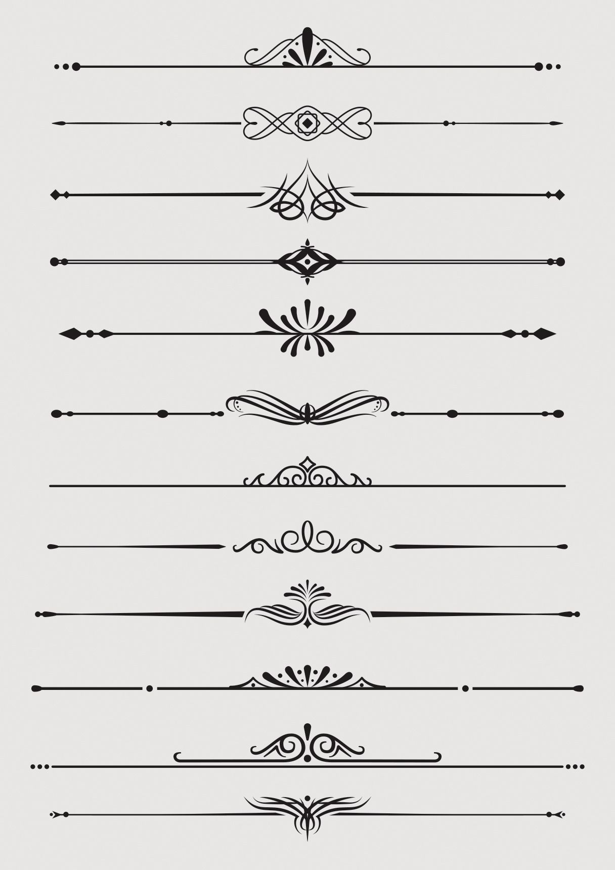 Vector borders u dividers ornaments swirls vector floral