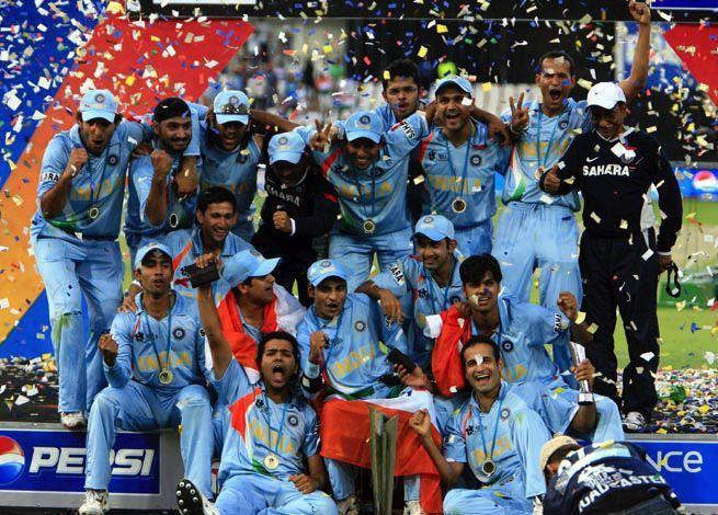 Team India T20 World Cup 2007 Celebration Cricketb4u Com Team India T20 World Cup 2007 Celebration Http Cric India Win Cricket In India World Cup Teams