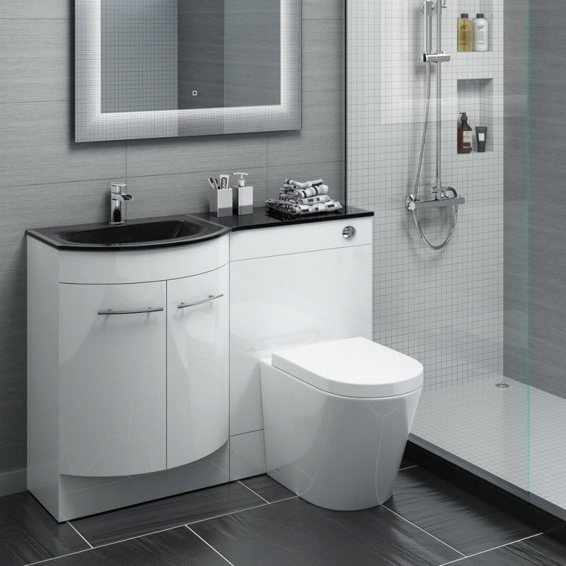 Stylish Black Gl Basin Bathroom Vanity Unit Large Floor Tile With Contrasting Grout Gray Wall And Clic White Of Beautiful