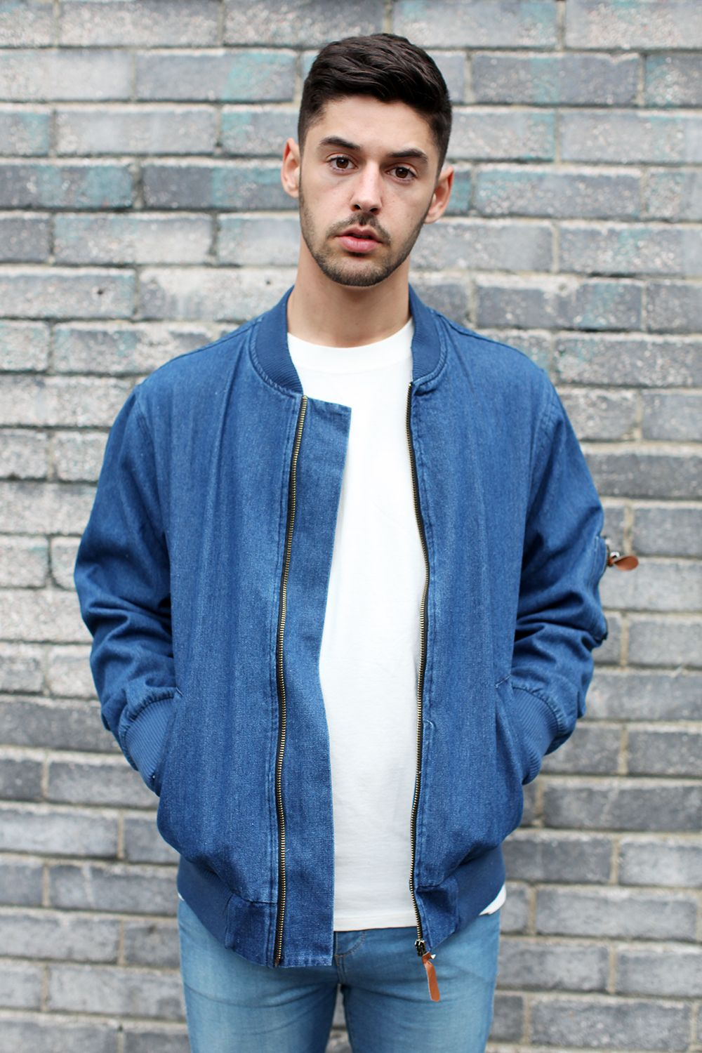 Waven Denim Bomber Jacket Used Blue | Great Outdoors | Pinterest ...